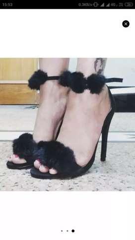 Truffle Collection Black Fur Heels