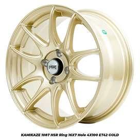 jual velg KAMIKAZE 1087 FC HSR R16X7 H4x100 ET42 GOLD