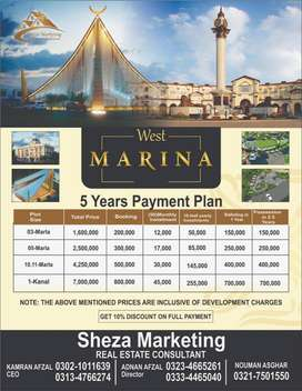 West Marina Block Plots Booking Available on Easy Installments