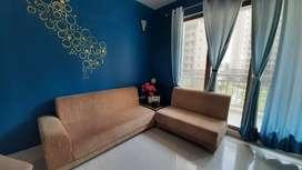 Urgent Sale-L shape sofa with stylish corner bookshelf and glass table