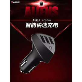 Charger Mobil - Remax Aliens Series Car Charger 3 USB 4.2A / Black