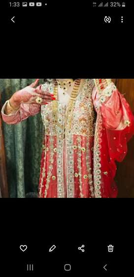 Bridal dress in fresh red colour just use in 1 time