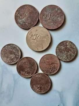 Uang koin logam kuno 50 dan 25 rupiah