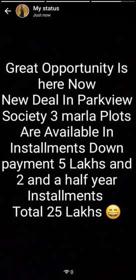 3 marla plots In Installments are available in Parkview Society