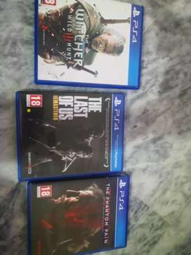 Ps4 games the witcher 3 ,the last of us, metal gear solid the phantom