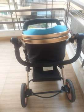 Child pram Stroller cum carry cot with Cannopy