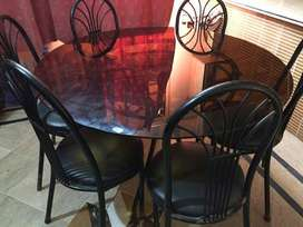 brass dining table with 6 seater