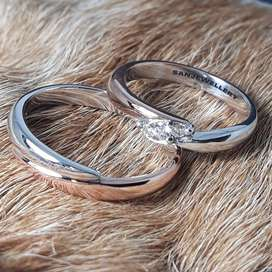 Cincin nikah lamaran kawin tunangan perak emas platina paladium couple