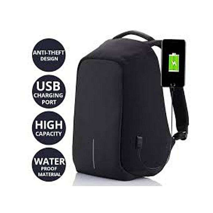 Anti Theft Water Proof Laptop Backpack - Black 0