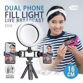 Mixio RC-16 Combo Ring Light 16CM Paket Lampu 2 Holder HP Stand Besi