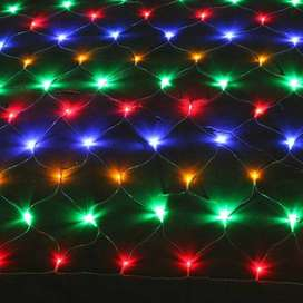 Large Curtain Of Fairy Light -10 X 10 Feet - Multi Color - With Multi