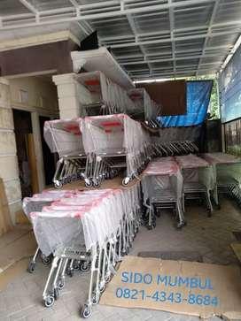 Trolley Troli Belanja Dorong Supermarket Stainless Steel