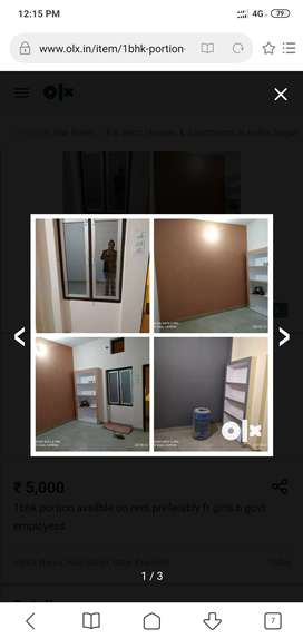 1bhk portion on rent for females.