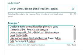 Dicari Editor/design grafis feeds Instagram.