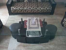 5seater sofa with glass center table