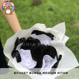 Bouqet Bunga Medium Hitam-Putih