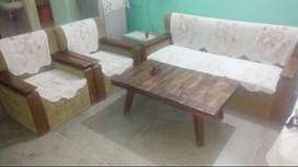 Sofa with center table sheesam wood 3+1+1