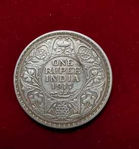 One rupee coin 1917 George V King Emperor