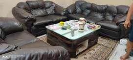 Luxury dark brown Sofa (leatherette)