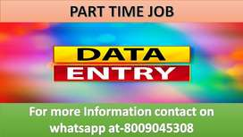 Home based job of DATA ENTRY Part time work available typing projects