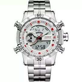 Jam tangan pria weide WH6902 silver white dual time original