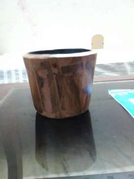 Wodden hand made pot