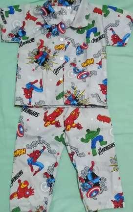 Baju anak jenis piyama bahan halus lembut berkualitas dan nyaman pisan