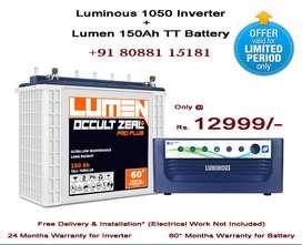Luminous 1050 Inverter + Lumen 150Ah TT Battery at Offer Price