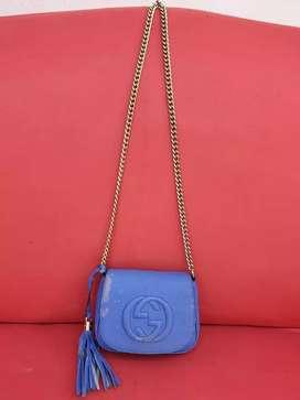 Tas import eks GUCCI made in Italy ad no seri biru kulit asli sling