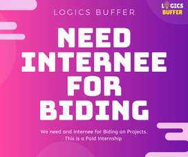 Need Internee in Our Office For Biding Urgent