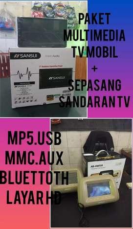 Paket Multimedia Tv Mobil 7 Inci Plus Sepasang Sandaran Tv