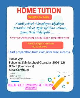 Preparation for sainik school, Navodaya, Netarhat, Ram krishn