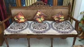 sofa six seater dining table with 3 chairs, 2 revolving bar chairs