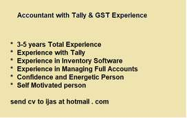 Accountant With Tally and GST  - 5 years Experience