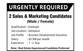 SALES MANAGER IN REAL ESTATE