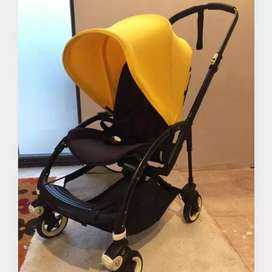 Stroller bugaboo bee 3 black frame yellow canopy