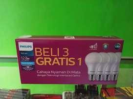 Lampu Led Philips 12W Paket Beli 3 Gratis 1