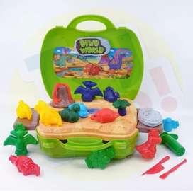 Mainan edukasi anak play dough dino world toys
