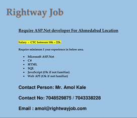 Require ASP. NET developer For Ahmedabad Location