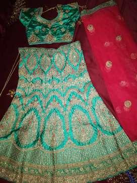 Fashionable Satin Silk Embroidered Stitched Lehenga Choli with Dupatta