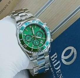 jam tangan bidden original watch 3 chrono mode on green elegant