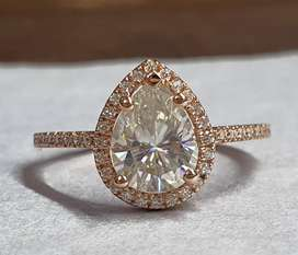 1.50 Ct Pear Cut Flawless Moissanite Ring In 14k Rose Gold