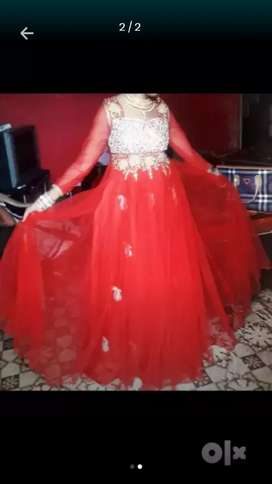 Red colour stone work gown