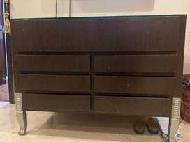 wenge teak and glass console