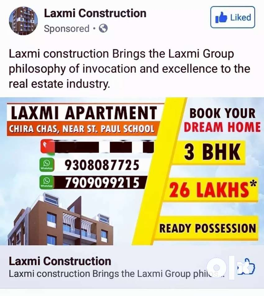 Welcome to Laxmi Construction in Bokaro Ready 3BHK Flats For sell 0