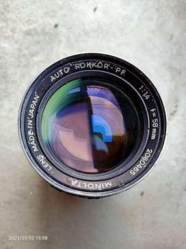 Lensa Minolta Manual Auto Rokkor 58mm PF w/ filter & adapter Sony NEX
