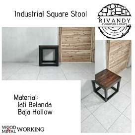 Industrial Square Stool