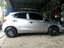 Velg hsr naples r16x7 black on honda brio