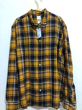 H&M Check Flannel Shirt Yellow