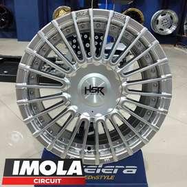 Velg mobil racing Brio ring 15 HSR wheel baut 4x100 dan 4x114,3 Silver